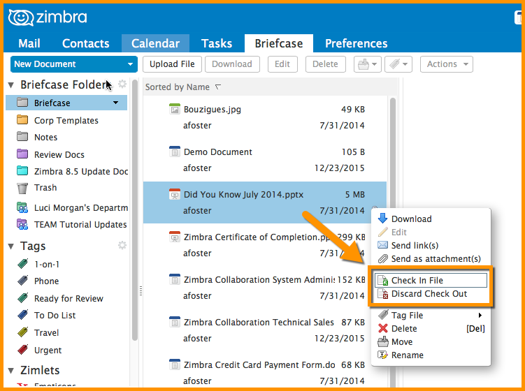 Did You Know? Collaborating with the Zimbra Briefcase
